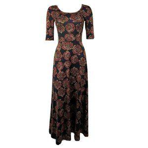 LULAROE Black Orange Pixelated Roses Ana Dress XS